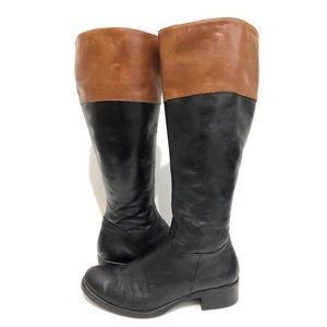 Aldo Two Tone Riding Boots Leather Black Tan 6.5